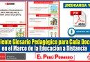 IMPORTANTE: Excelente Glosario Pedagógico para Cada Docente en el Marco de la Educación a Distancia [Descarga aquí][PDF]
