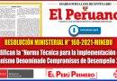 """RESOLUCIÓN MINISTERIAL N° 160-2021-MINEDU: Modifican la """"Norma Técnica para la Implementación del mecanismo denominado Compromisos de Desempeño 2021"""""""