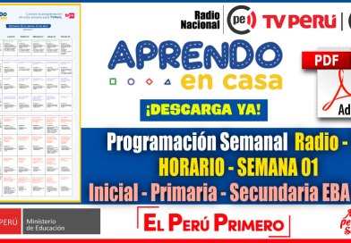 Nuevo Horario Semanal – Programación Radio y TV SEMANA 01 [Del 19 al 23 de Abril 2021] Inicial, Primaria y Secundaria [Descarga aquí]