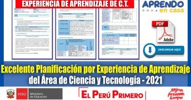 IMPORTANTE: Excelente Planificación por Experiencia de Aprendizaje del Área de Ciencia y Tecnología [Descarga aquí]
