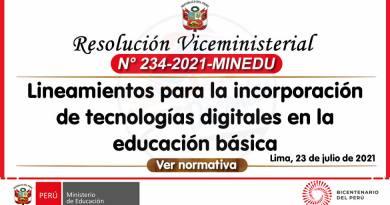 RVM N° 234-2021-MINEDU: Lineamientos para la incorporación de tecnologías digitales en la educación básica
