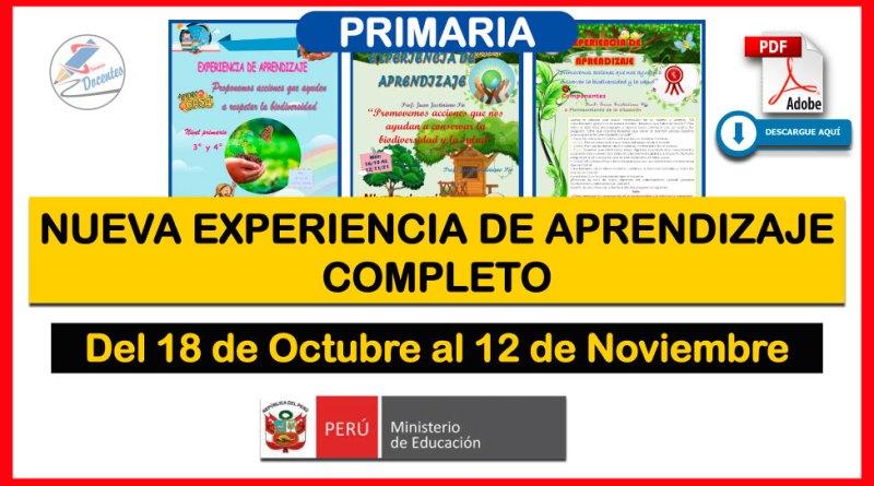 NUEVA EXPERIENCIA DE APRENDIZAJE COMPLETA para Nivel PRIMARIA (1° a 6°) – Fecha del 18 de Octubre al 12 de Noviembre [Descarga aquí][PDF]
