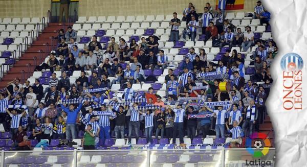 Parte de la afición del Leganés desplazada al José Zorrilla. Foto: LFP