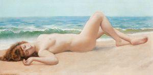 """Desnuda en la playa"""", de John William Goodward, pintor neoclasicista que se suicidó porque en el mundo """"no hay sitio para mí y un Picasso."""" Y sin embargo, cuánto misterioso relato desprenden sus pinturas, despreciadas por simples, ornamentales, fáciles."""