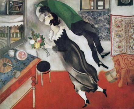 Marc Chagall retrató muchas veces, de forma idílica, el amor que le unía a Belle, su esposa.
