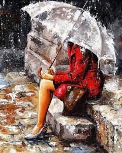 """""""La mujer de rojo"""", del pintor húngaro Emerico Imre Toth."""