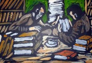 """""""Café entre libros"""", de Morgado. Imagen perteneciente al blog http://fondonegro1.blogspot.com.es/"""
