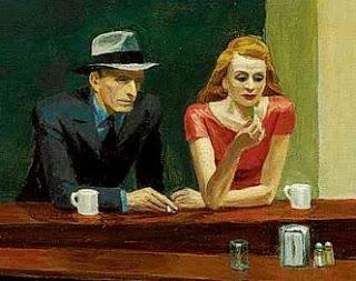 """Detalle de """"Halcones de la noche"""", de Edward Hopper."""
