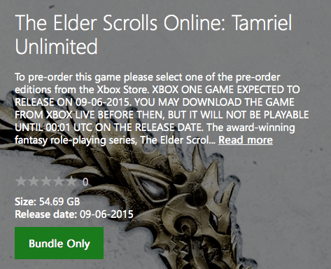 ficha The Elder Scrolls Xbox Store
