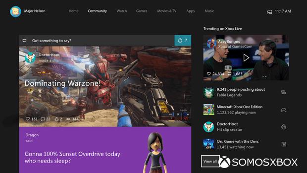 Imágenes de la nueva interfaz de Xbox One