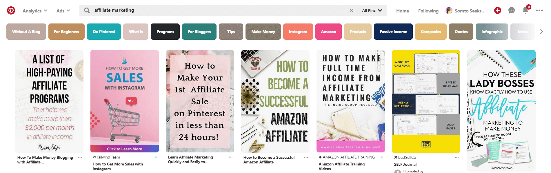 How to make money with affiliate links - Pinterest keyword search