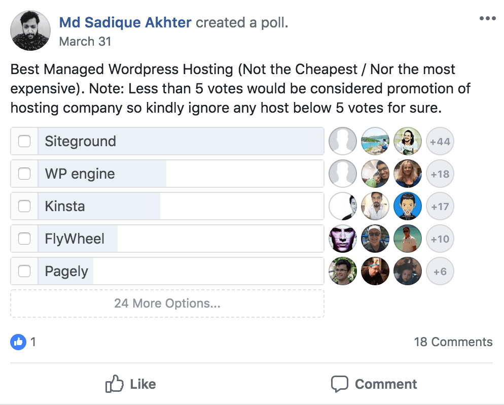 Start a Blog with Siteground - Facebook Poll 2018