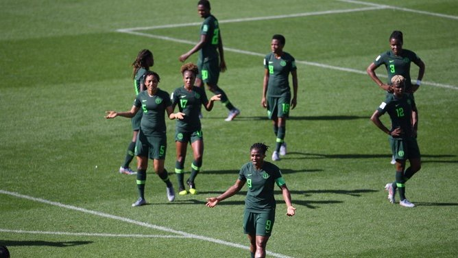 Super Falcons stage sit in protest in France as NFF denies owing them somtosports