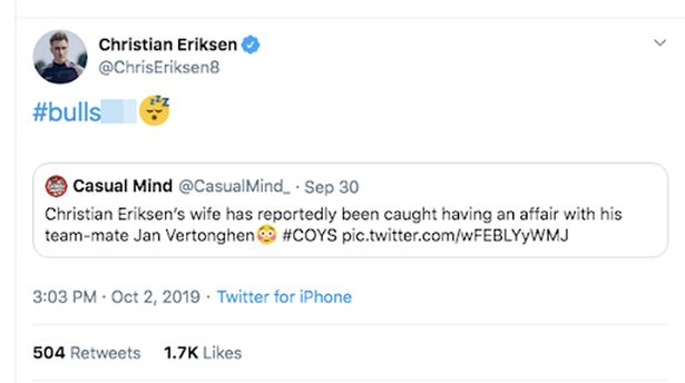 Tottenham star, Christian Eriksen debunks rumors of teammate having sexual affairs with his wife