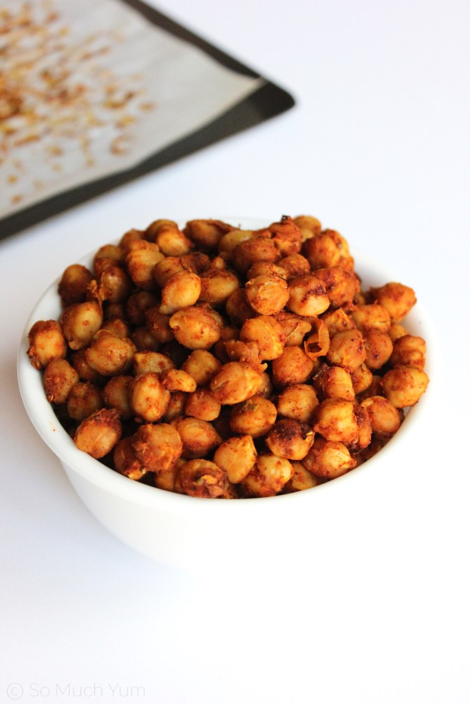 Oil-Free Roasted Spiced Chickpeas | So Much Yum