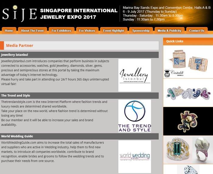 2017 Singapur Mücevher Fuarı Medya Partneri Somut Medya İnternet Network