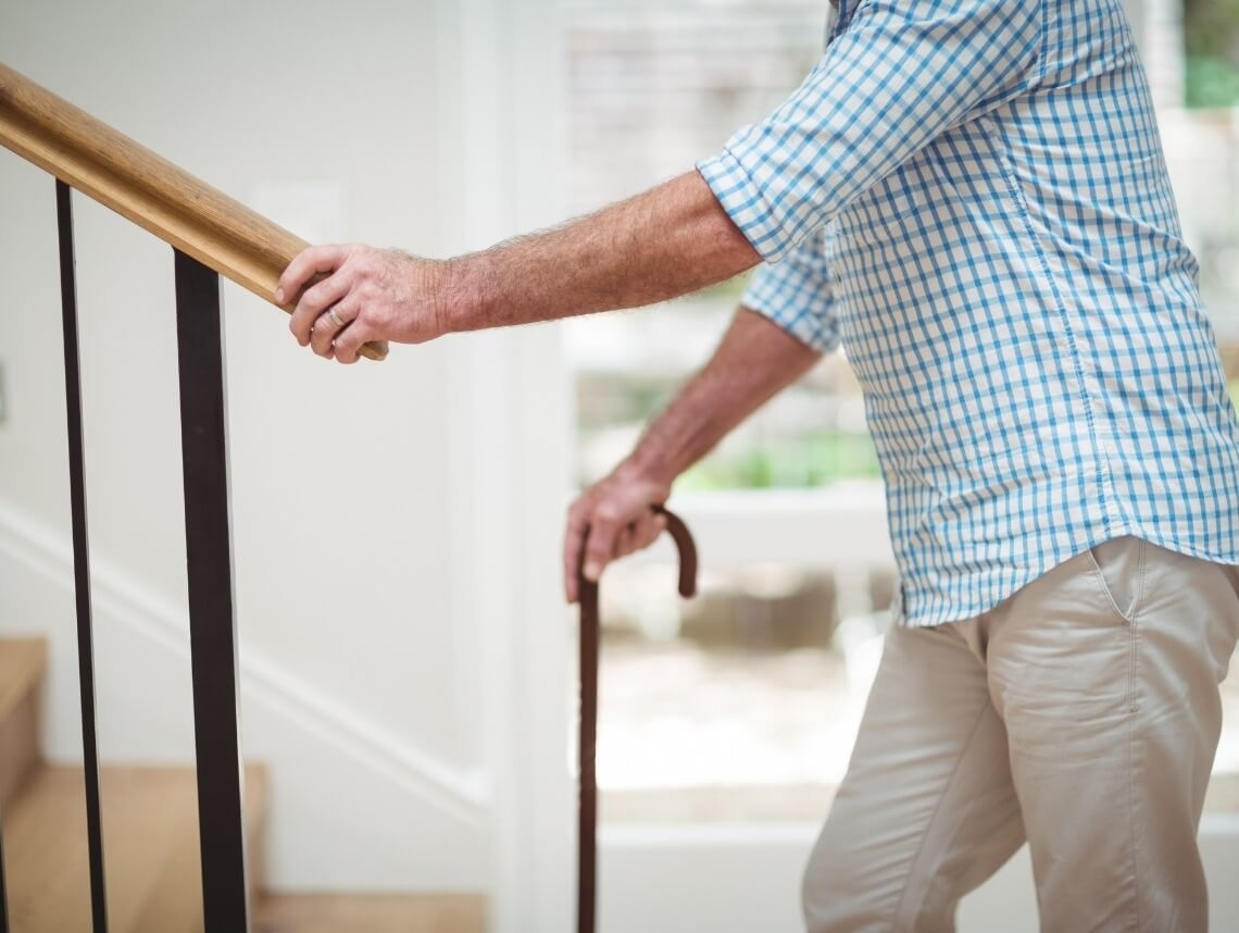 4 Ways To Make Stairs Safer Easier For Seniors Sonas   Stair Rails For Elderly   Stair Climbing   Down Stairs   Wood   Cmmc Handrail   Pipe