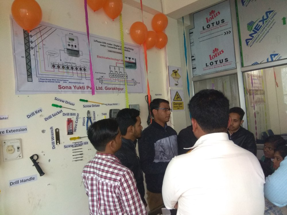 medium resolution of sona yukti s gorakhpur center students from the power sector course in consumer energy meter technician course undergo training