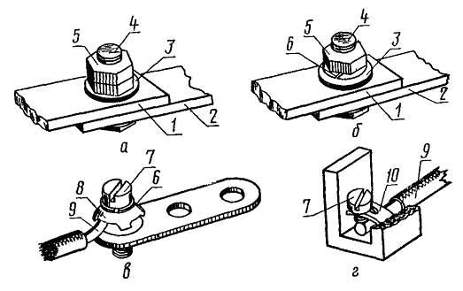 Разборные контактные соединения проводников с плоскими выводами без средств стабилизации электрического сопротивления