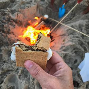 Smores roasting marshmallows and last fire on the beach whathellip