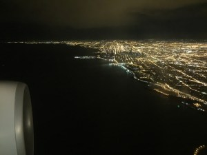 Chicago at night from a plane, coming back from Hawaii!