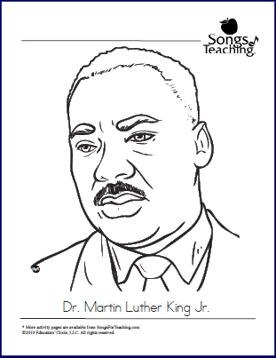 MLK JR. Coloring Page: Songs For Teaching