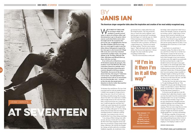 How I wrote 'At Seventeen' by Janis Ian