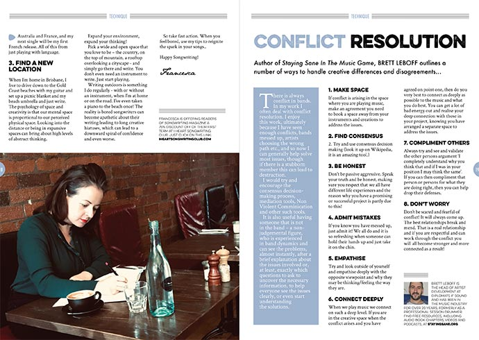 Conflict Resolution Technique in Songwriting Magazine Winter 2019