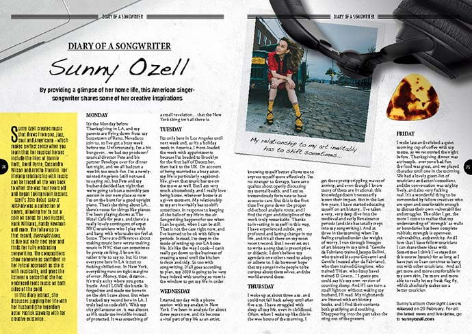 Diary of Sunny Ozell in Songwriting Magazine Winter 2019