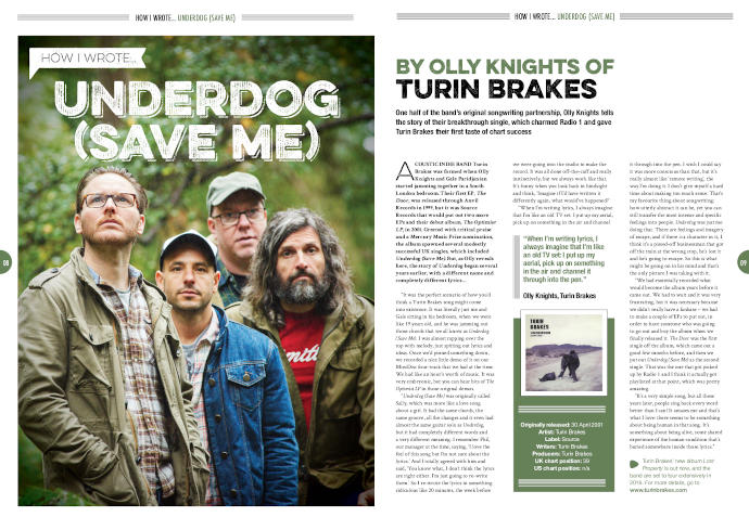 How I wrote 'Underdog (Save Me)' by Turin Brakes in Songwriting Magazine