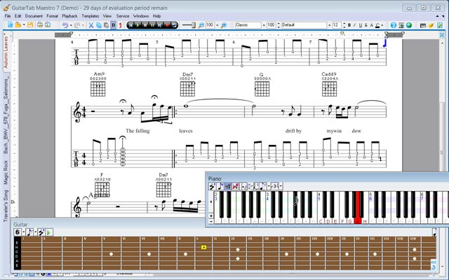 MagicScore Guitar with virtual guitar fingerboard and piano keyboard
