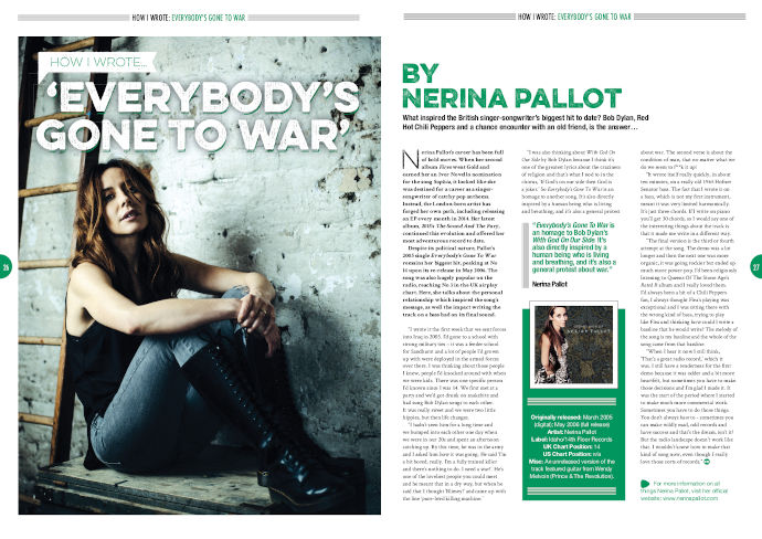 Nerina Pallot 'Everybody's Gone To War' in Songwriting Magazine