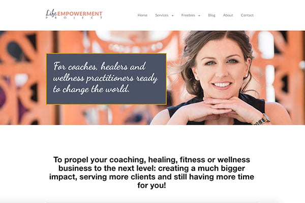 Screen capture of website using lifestyle branding photographs taken by Songy Knox in Perth