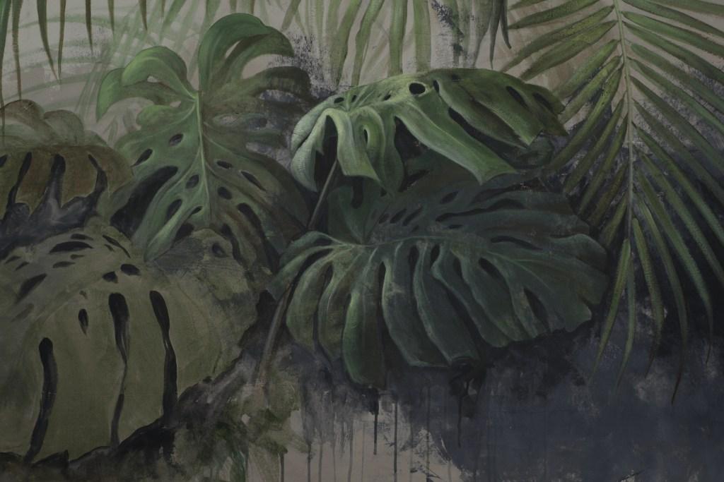 foglie di monstera e foglie di palma dipinte