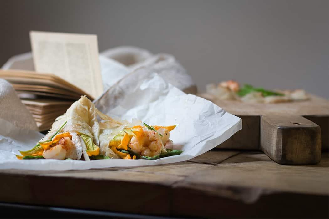 ricetta Borlengo con gamberi e fiori di zucca