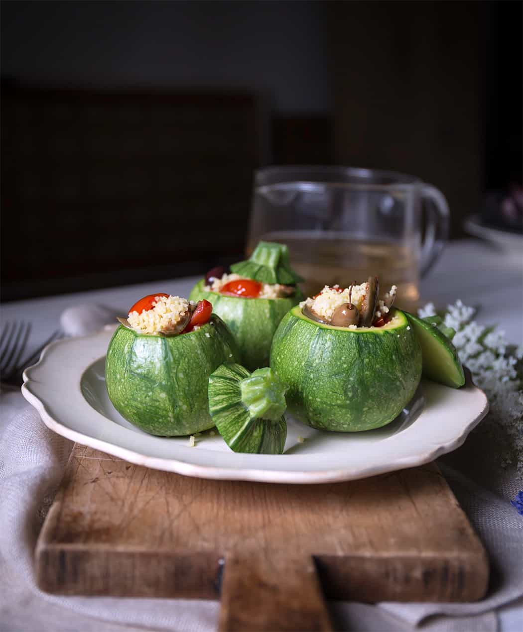 ricetta cous cous zucchine tonde , pomodorini, olive