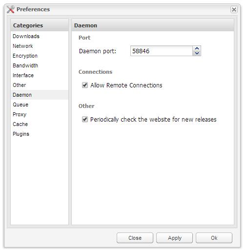 Deluge - Daemon/ThinClient Settings