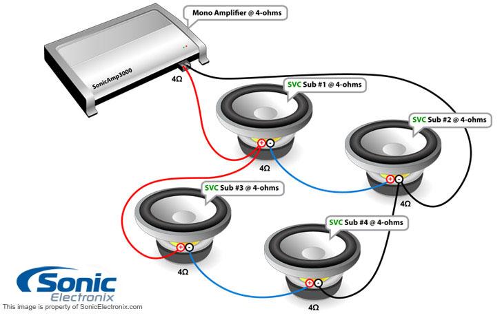 4 2ohm Speaker Wiring Diagram Subwoofer Wiring Diagrams Sonic Electronix