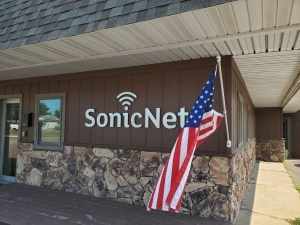 US flag at SonicNet office