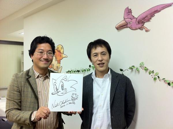Yuji and Naoto with Sonic's drawing