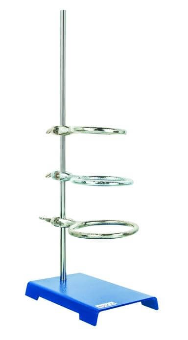 "8"" x 5"" Steel Support Ring Stand with 3 Rings, 8"" Length x 5"" Width Base Size"