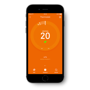 Picture of Black Phone Controlling Nest Smart Thermostat – Orange Screen