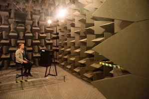 The anechoic chamber at the University of Salford, UK
