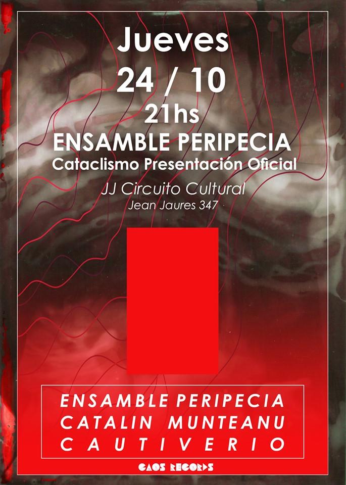 Cartel de evento de Ensamble Peripecia en vivo en Argentina