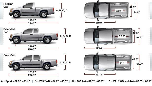 Chevy Colorado Bed Size Dimensions