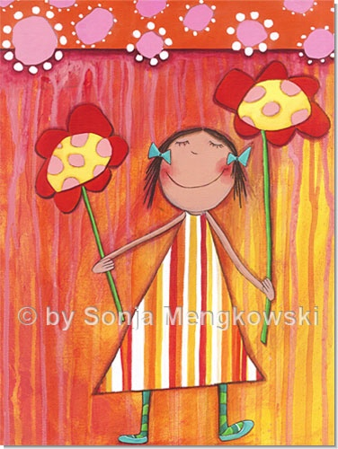 Blumen Mdchen  Serie Acrylbilder Motive frs Kinderzimmer