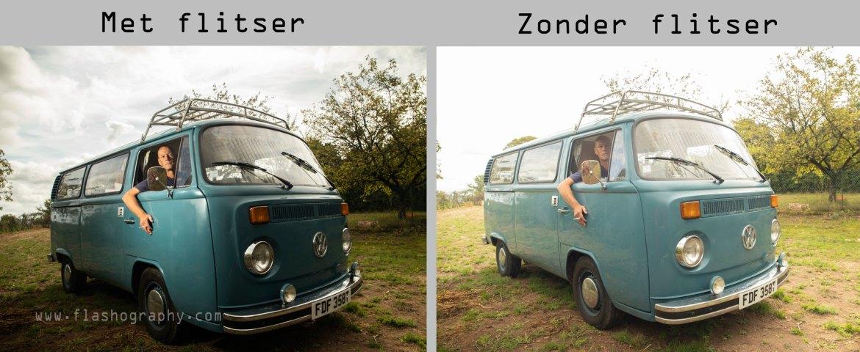 VW busje met en zonder flits