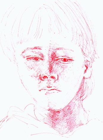 Sketch of Tama (7 years), red biro, 2000, by Sonja van Kerkhoff.