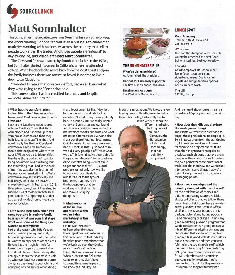 Matt Sonnhalter Source Lunch