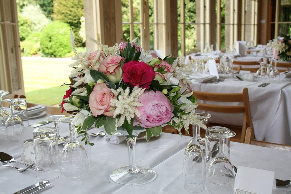 pink peonies and roses table centre